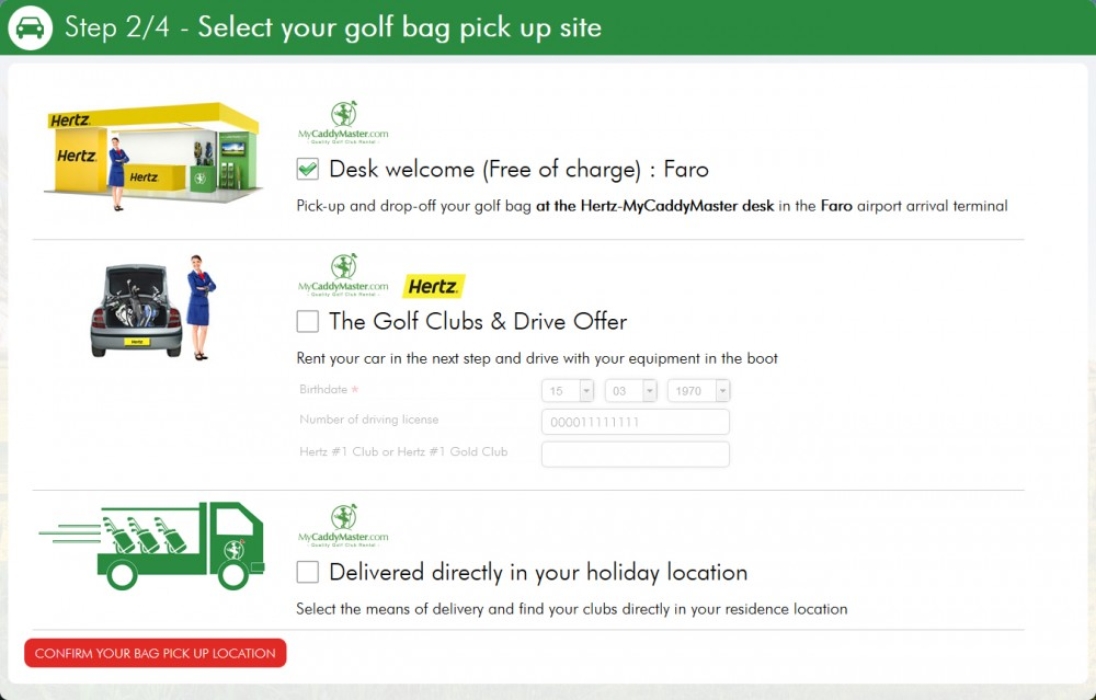 Select the way you want to pick up your golf bag in the airport