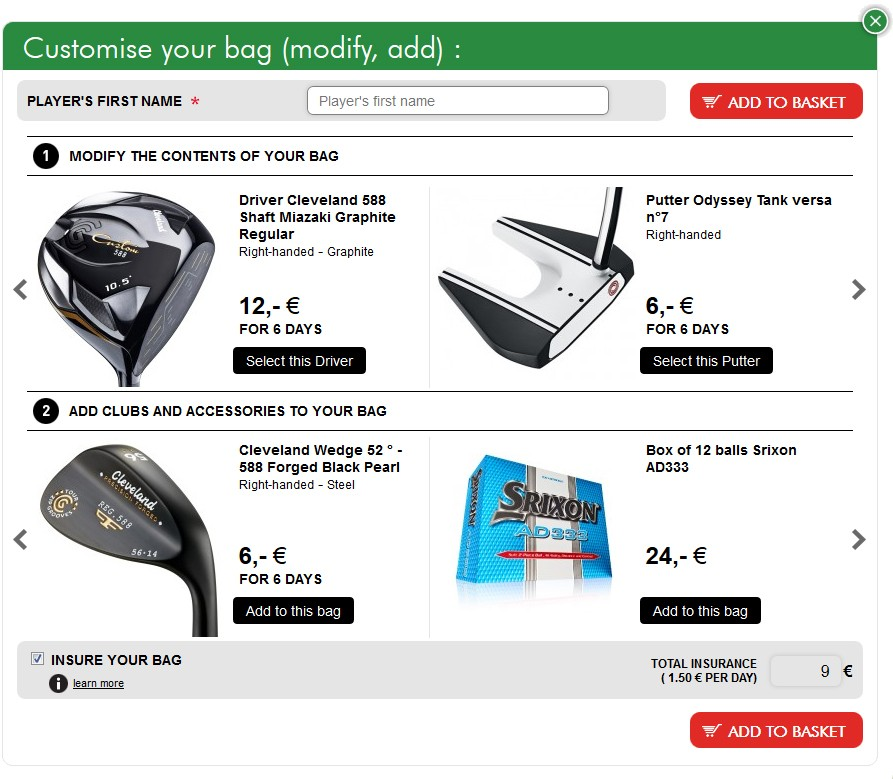 Customise the contents of your golf bag (add clubs and accessories)